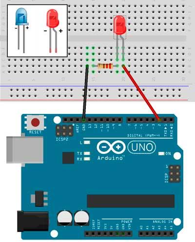 Esquema para apagar y encender un LED con Arduino