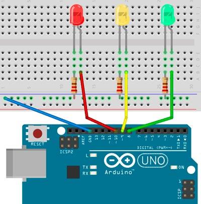 Esquema para el montaje de un semaforo sencillo para Arduino