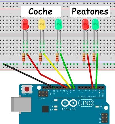 Esquema para el montaje de un semáforo para coches y peatones con Arduino