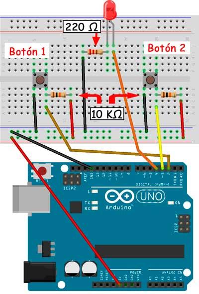 Esquema para el proyecto de un cronómetro con dos pulsadores
