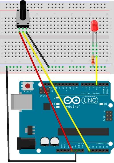 Esquema para cambiar la intensidad de un LED con un potenciómetro