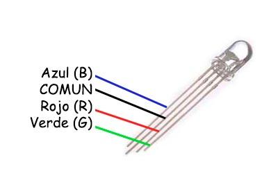 Diodo led de ánodo común con 4 pin F5