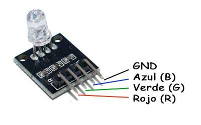 Módulo RGB KY-016 con 3 colores y resistencias incorporadas.