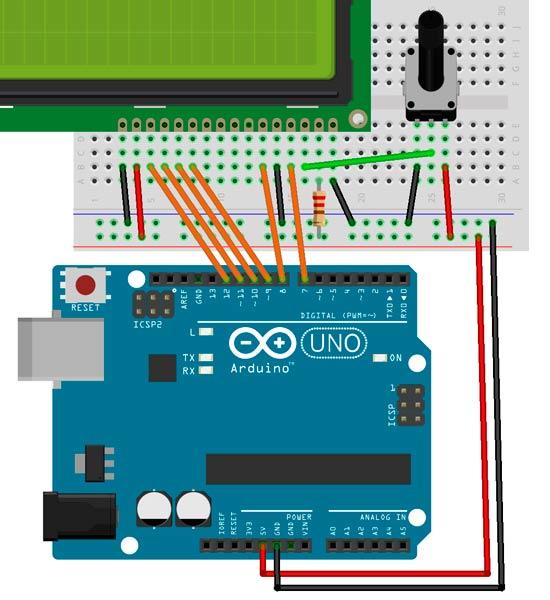 Esquema de la pantalla LCD y potenciómetro.