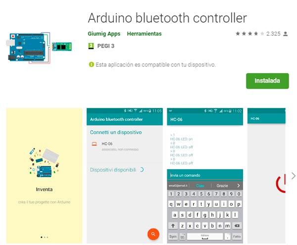 Aplicación bluetooht controller para utilizar con el dispositivo móvil.