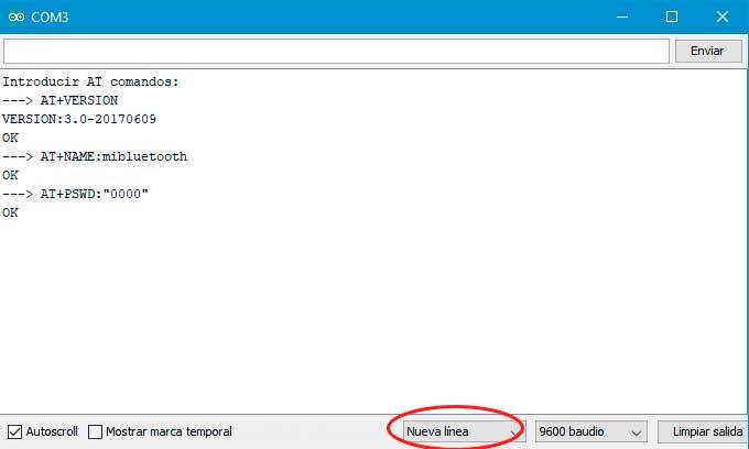 Captura de pantalla con los comando para cambiar el nombre y la contraseña del modulo HC-06