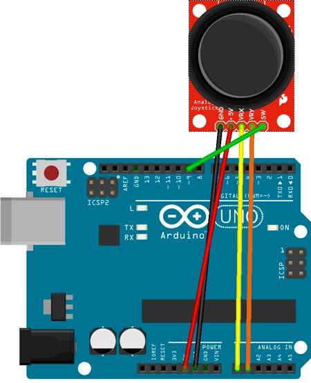 Esquema del circuito para el control de un joystick con Arduino UNO