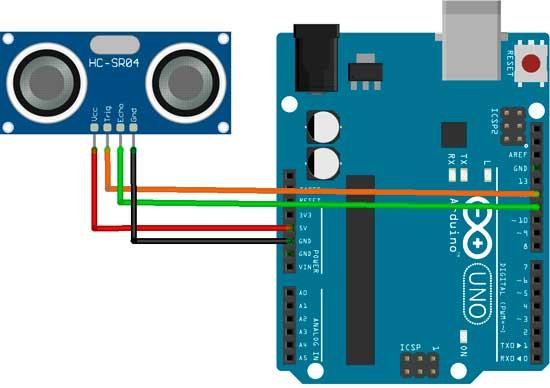 Esquema de conexión del sensor HC-SR04 con Arduino
