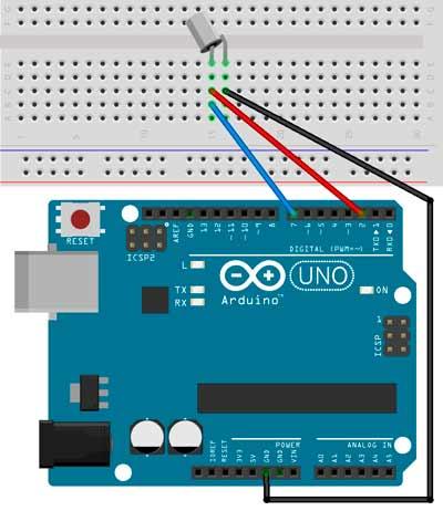 Esquema de montaje para el sensor de inclinación SW-520D con Arduino