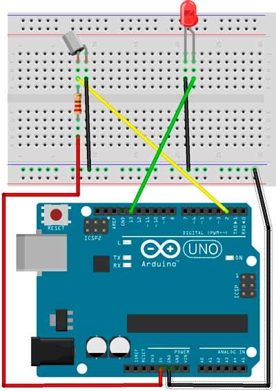 Esquema para comprobar la inclinación con el sensor SW-520 e indicado por un Led