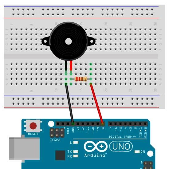 Esquema para generar sonido con un zumbador