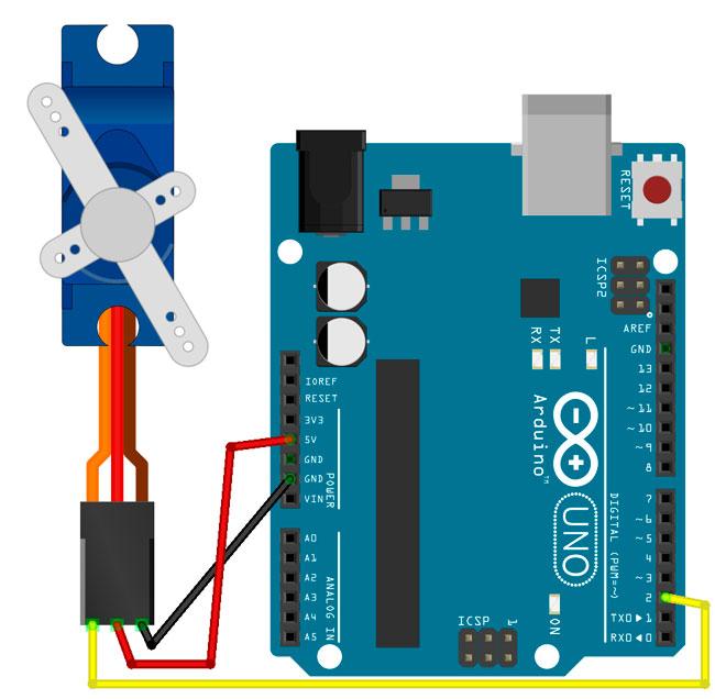 Esquema de un montaje de Arduino con servomotor de corriente continua SG90.