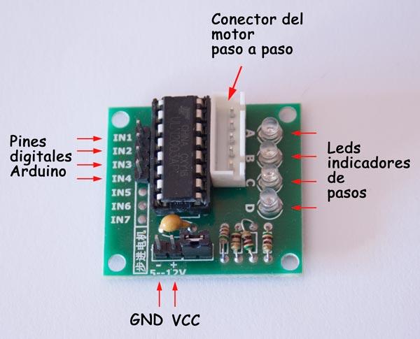 Modulo ULN2003 para conexión del motor paso a paso