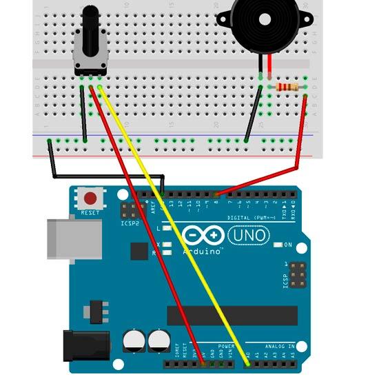 Esquema para controlar el sonido con un potenciómetro