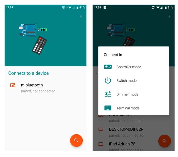 Capturas de pantalla de la aplicación android utilizada para el móvil.