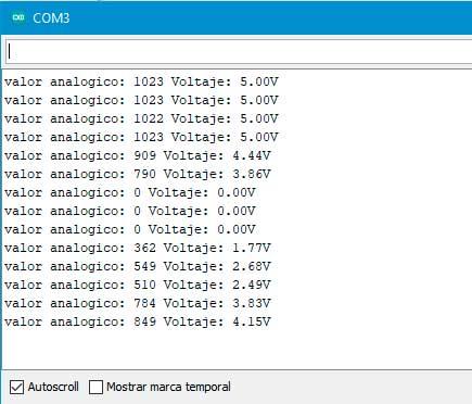 Valores analógicos y voltaje en el monitor serial