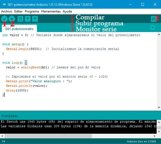 IDE arduino para compilar y subir el código a la placa de Arduino