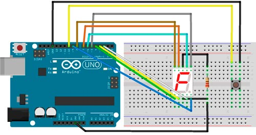 Esquema de montaje de un display de 7 segmentos y un pulsador
