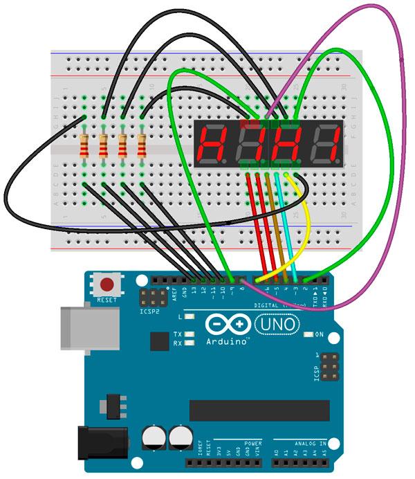 Esquema de conexión del display con Arduino