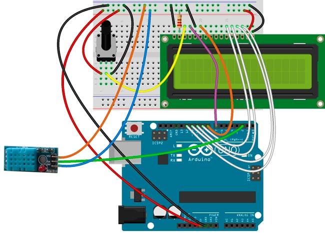 Esquema para el montaje del sensor DHT11, pantalla LCD y la placa Arduino