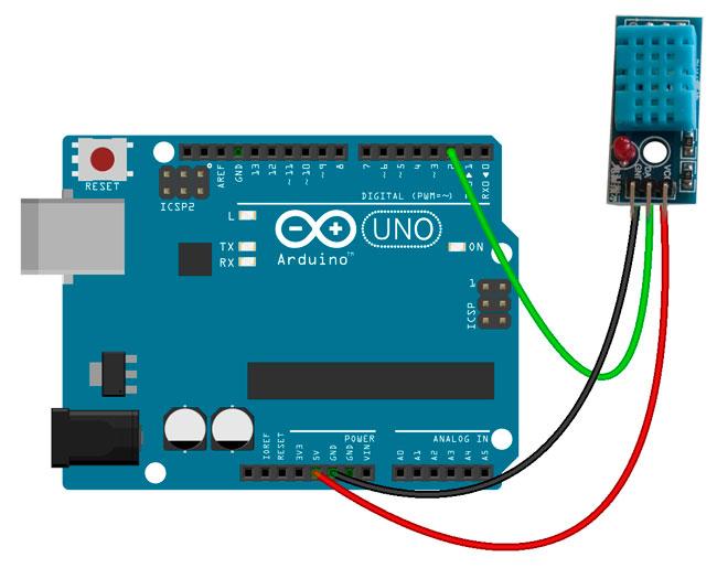 Conexión del modulo DHT11 a la placa Arduino