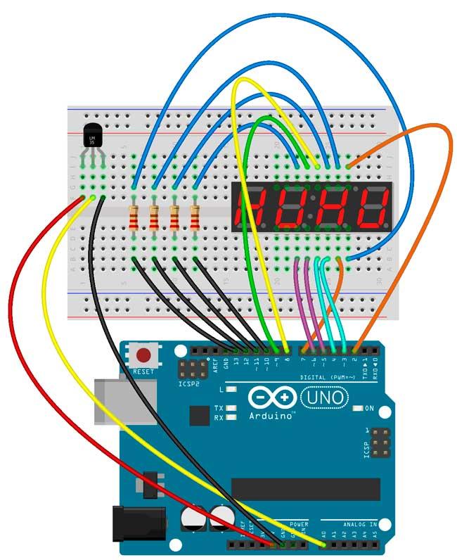 Esquema de montaje del sensor LM35, el display de 4 dígitos y la placa Arduino