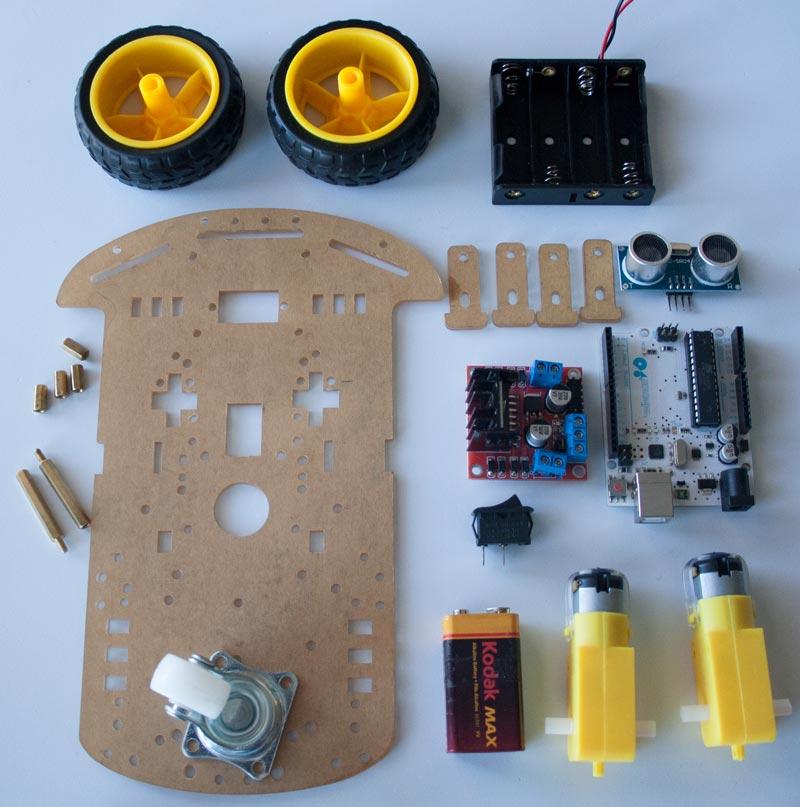 Material necesario para el proyecto de robot Arduino evita obstáculos