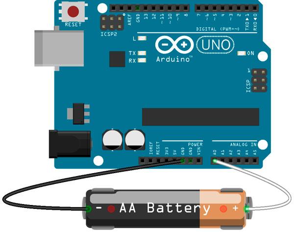 Esquema medidor de carga para una pila, realizado con Arduino