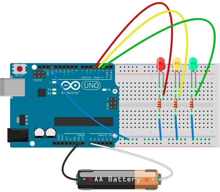 Medidor de carga realizado con Arduino y Leds