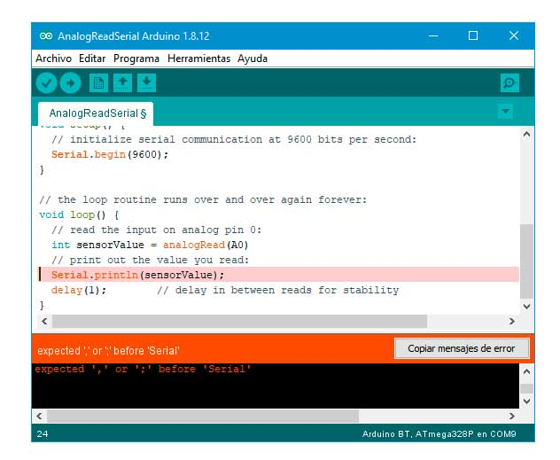 IDE de Arduino marcando un error.