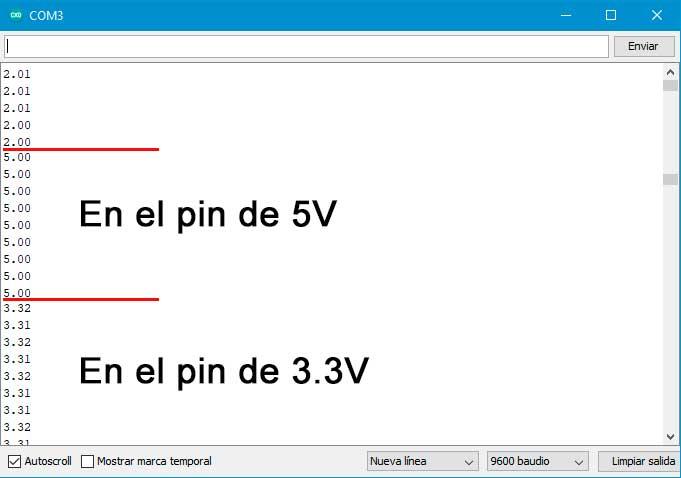 Captura del monitor serial, probando en el pin de 5 y 3,3V.