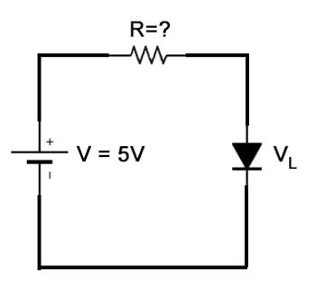 Circuito con resistencia para un LED, con una fuente de 5V