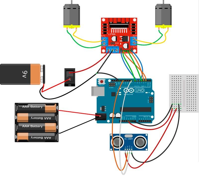 Esquema del robot para Arduino, el controlador de motores y el sensor de distancia
