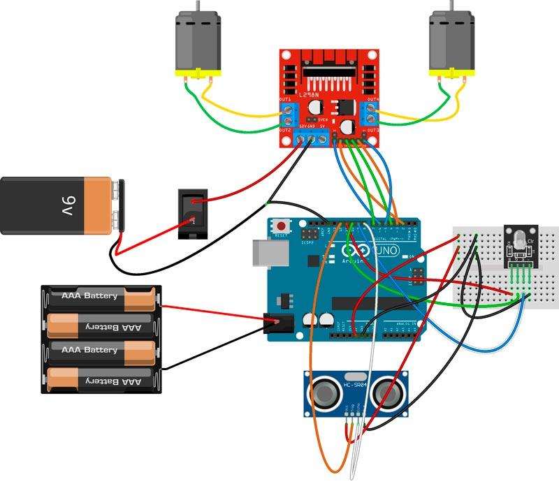 Esquema del robot para Arduino, el controlador de motores, sensor de distancia y modulo Led RGB