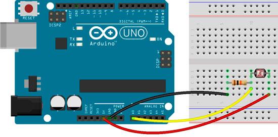 Esquema de montaje de Arduino con el fotorresistor GL55