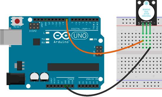 Esquema para la conexión del zumbador KY-012 con Arduino