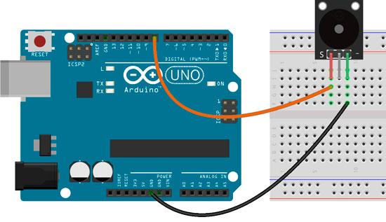 Esquema para la conexión del zumbador KY-006 con Arduino