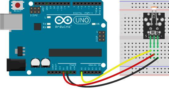 Conexión del módulo KY-018 con la placa Arduino