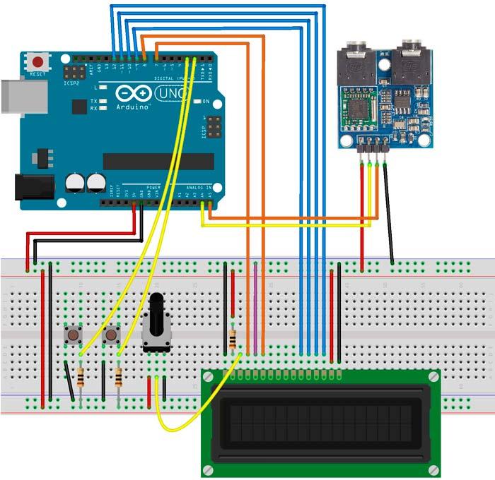 Esquema para radio FM con el módulo TEA5767 y pulsadores para cambiar de frecuencia