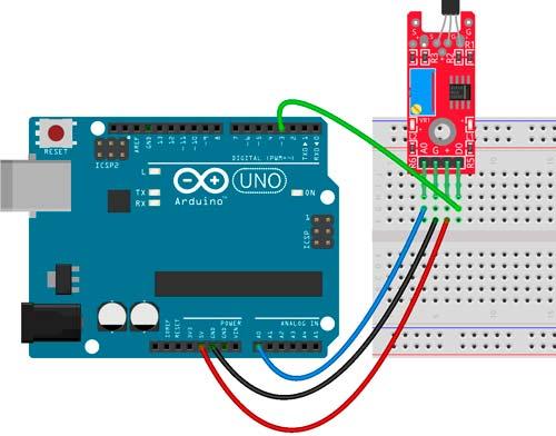 Esquema de conexión con Arduino del sensor KY-024