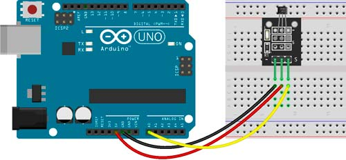 Esquema de conexión con Arduino del sensor KY-035