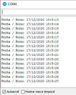 Fecha y hora en el monitor serial utilizando el modulo DS1302