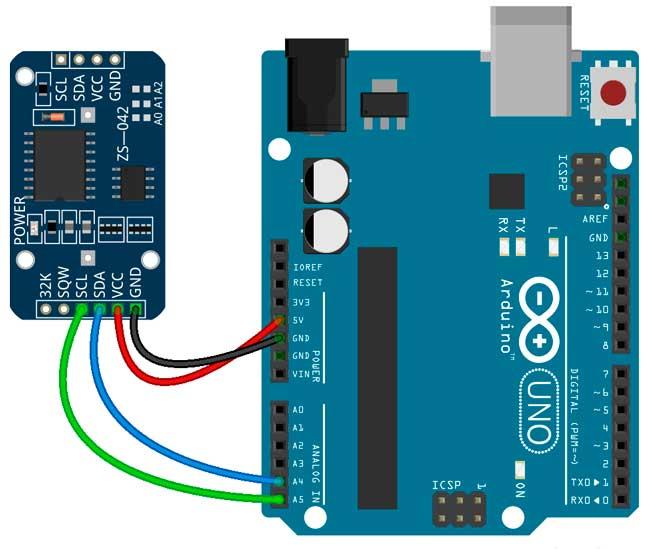 Esquema de conexión del módulo DS3231 con la placa Arduino