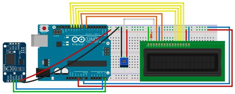 Esquema de Arduino con módulo RTC DS3231 y pantalla LCD