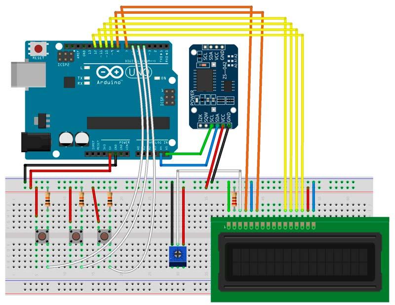 Esquema reloj Arduino con 3 pulsadores