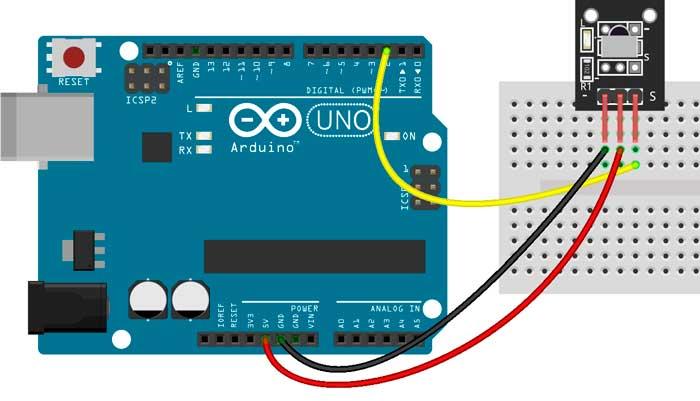 Esquema de conexión del módulo KY-022 con Arduino