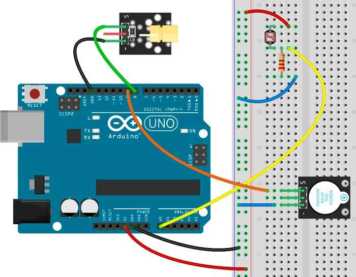 Esquema para montar una alarma con un puntero láser, un buzzer y Arduino
