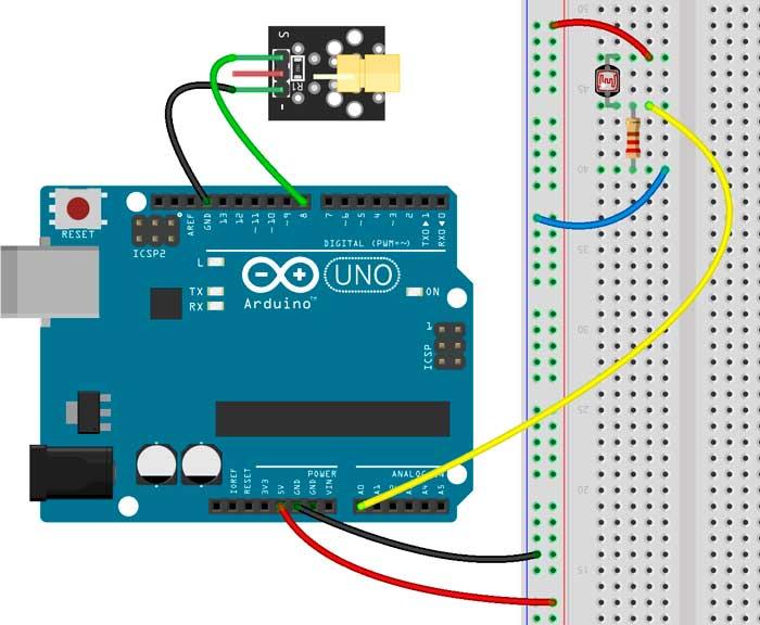 Esquema para montar una alarma con un puntero láser y Arduino