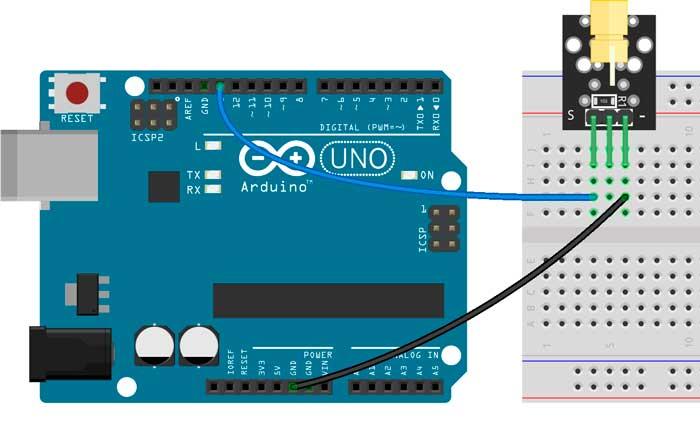 Esquema para probar el módulo KY-008 con Arduino