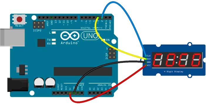 Esquema para conexión del módulo TM1637 con Arduino.